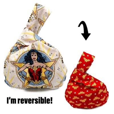 DC Comics Wonder Woman Handmade Japanese Knot Bag Purse (Reversible - 3 sizes)