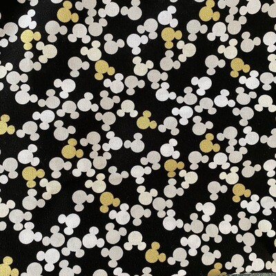 EasyFit Mickey Mouse Icons with Gold Metallic Accents Reusable Cloth Face Mask