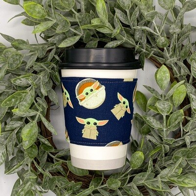 Star Wars Mandalorian Grogu Tea & Coffee Sleeve, Cup Cozy, Reversible, Reusable