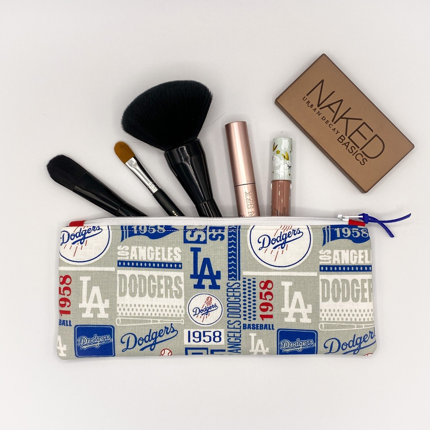 Los Angeles LA Dodgers MLB Baseball Handmade Flat Zipper Pencil / Makeup Pouch, Fully lined with Easy Clean Ripstop