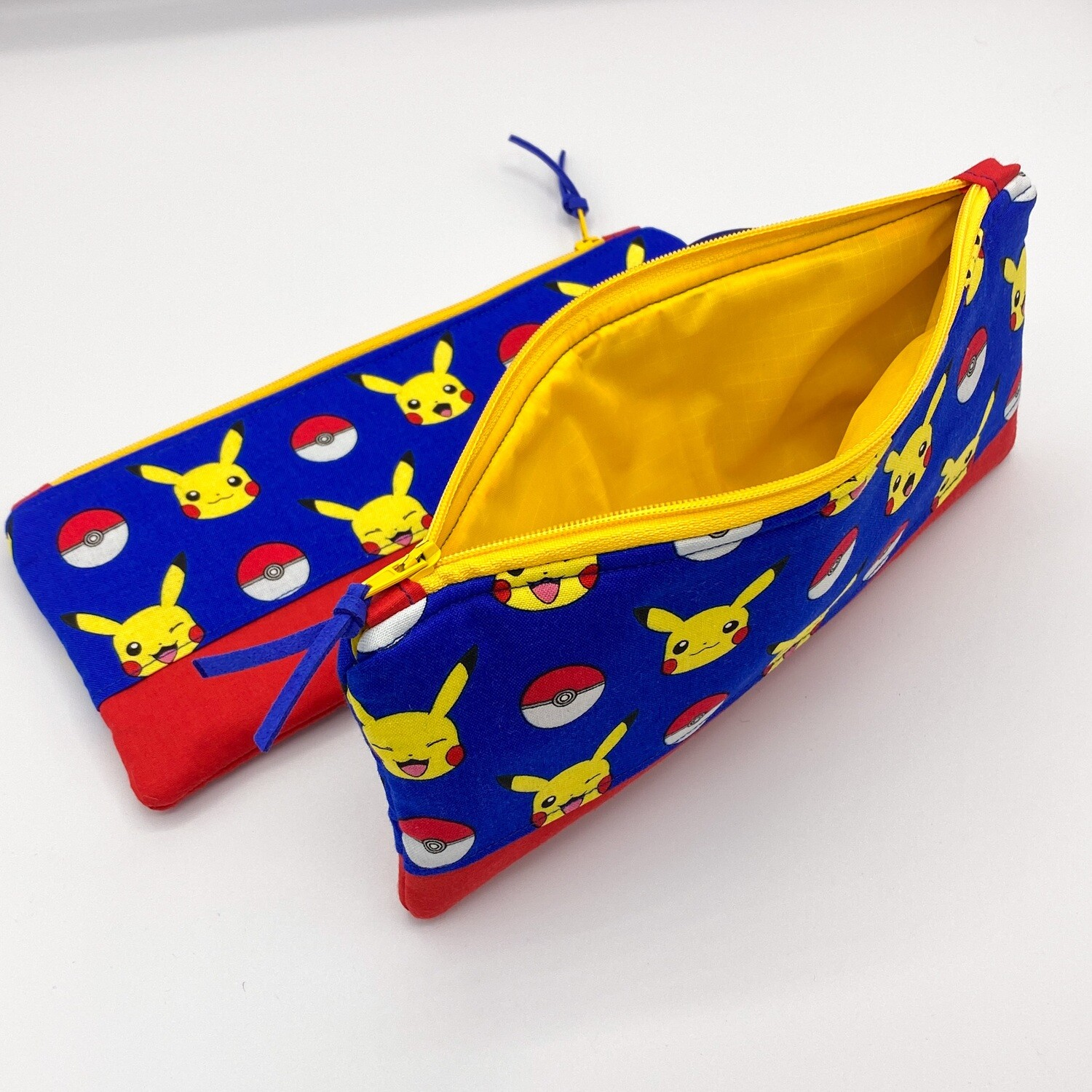 Pokémon Handmade Flat Zipper Pencil / Makeup Pouch, Fully lined with Easy Clean Ripstop