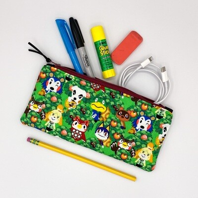 Animal Crossing Handmade Flat Zipper Pencil / Makeup Pouch, Fully lined with Easy Clean Ripstop, Nintendo Switch