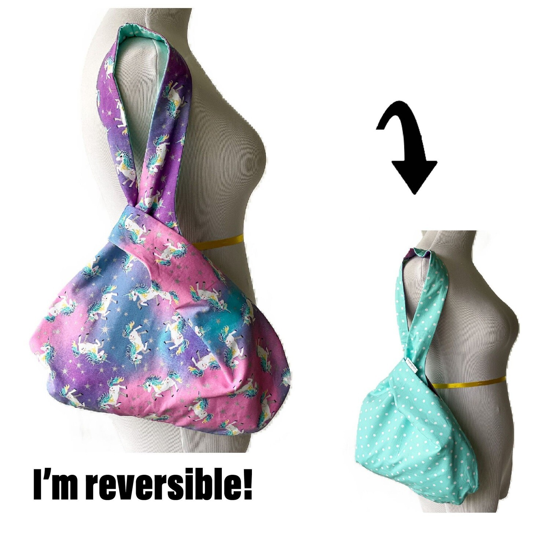 Rainbow Unicorn Handmade Japanese Knot Bag Purse (Reversible - 3 sizes)