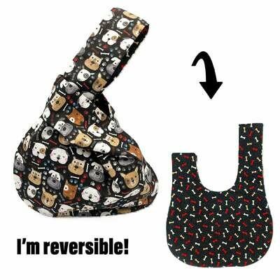 Happy Dogs/Bones Handmade Japanese Knot Bag Purse (Reversible - 3 sizes)