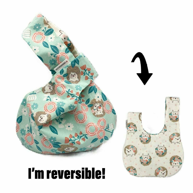 Cute Hedgehogs Handmade Japanese Knot Bag Purse (Reversible - 3 sizes)