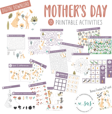 Mother's Day 18 Activities and Games Bundle for Kids | Printables | Instant Download | Activities for Kids