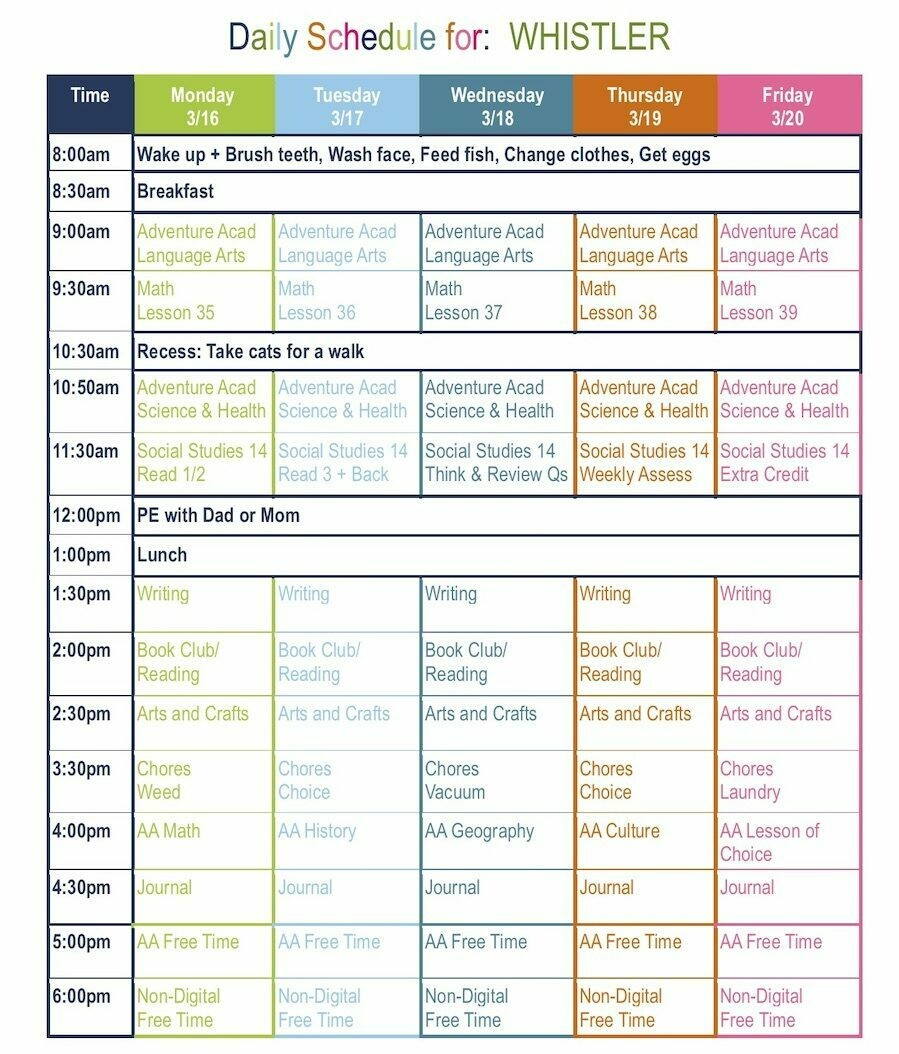4th Grade Daily Homeschool Schedule Template Free Download