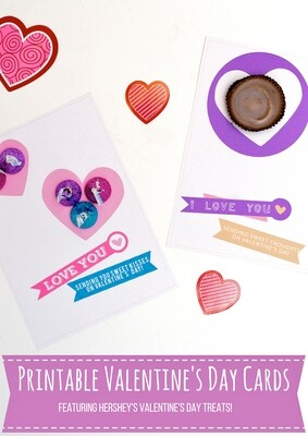 Printable Valentine's Day Cards to Use with Sweet Treats