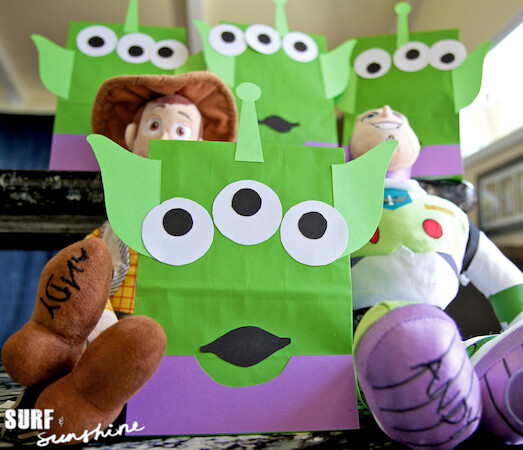 DIY Disney Toy Story Alien Craft Party Favor Bags Template