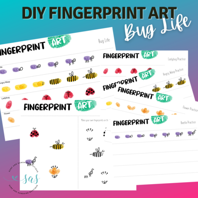 Bug Life Fingerprint Art Tutorial Printables