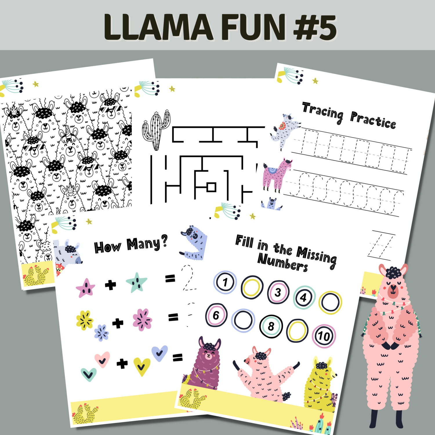 Llama Fun Activities Set 5 Cactus