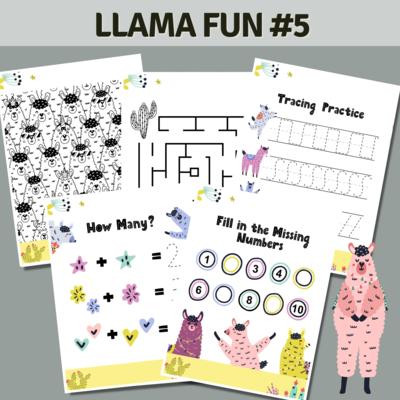 Llama Fun Activities Set 5 Cactus