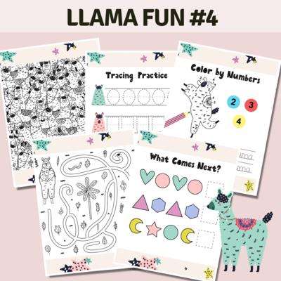 Llama Fun Activities Set 4 Stars