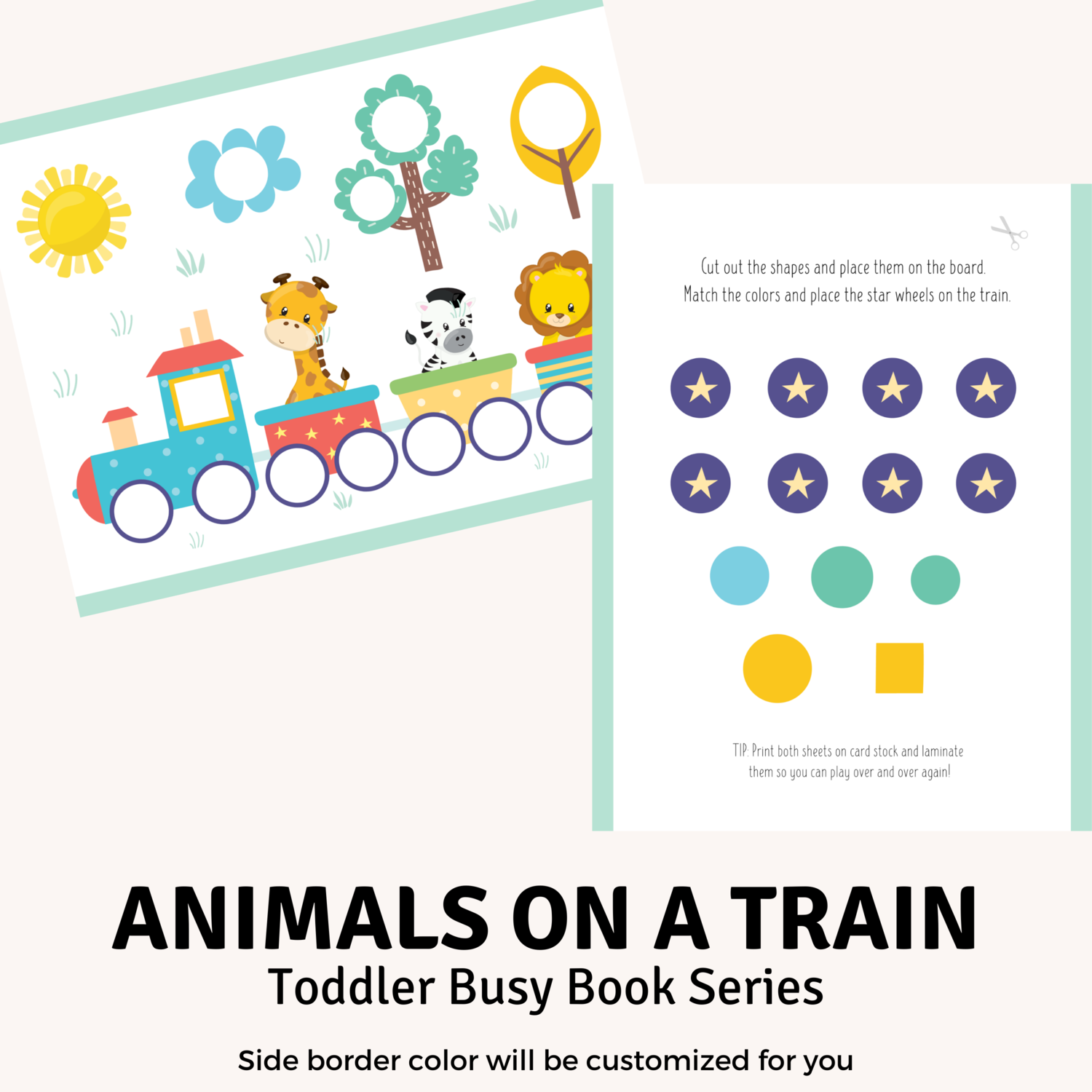 Animals on a Train Toddler Activity
