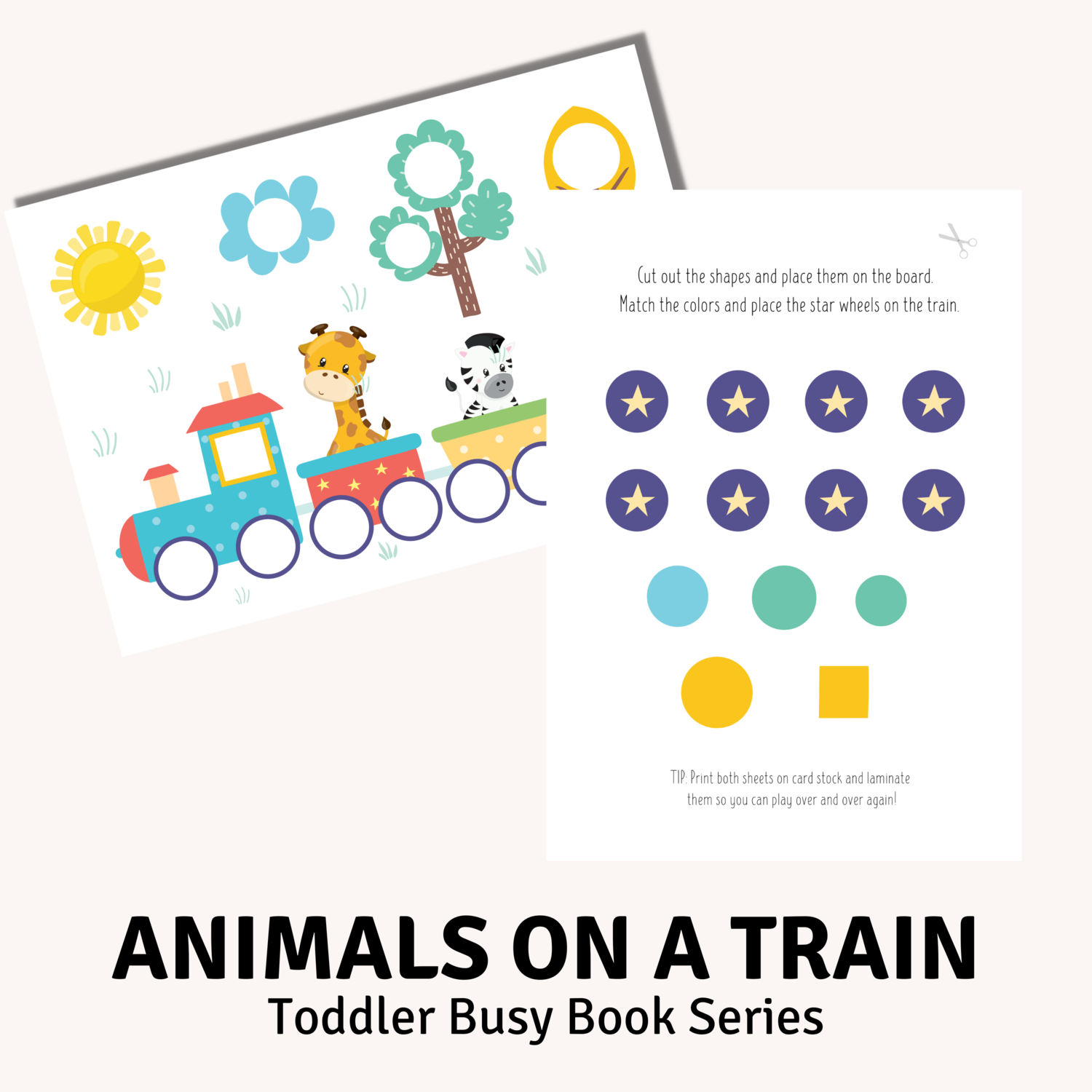Animals on a Train Toddler Busy Book Activity