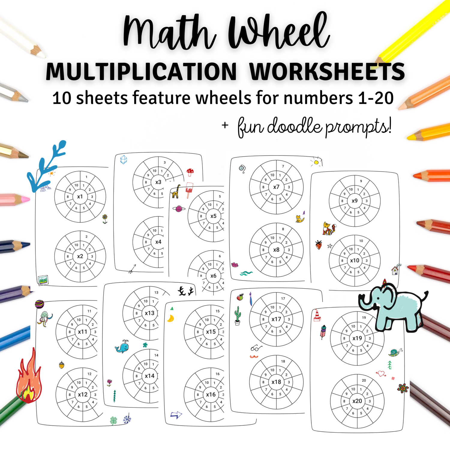 Math Wheel 1-20 Multiplication Worksheets