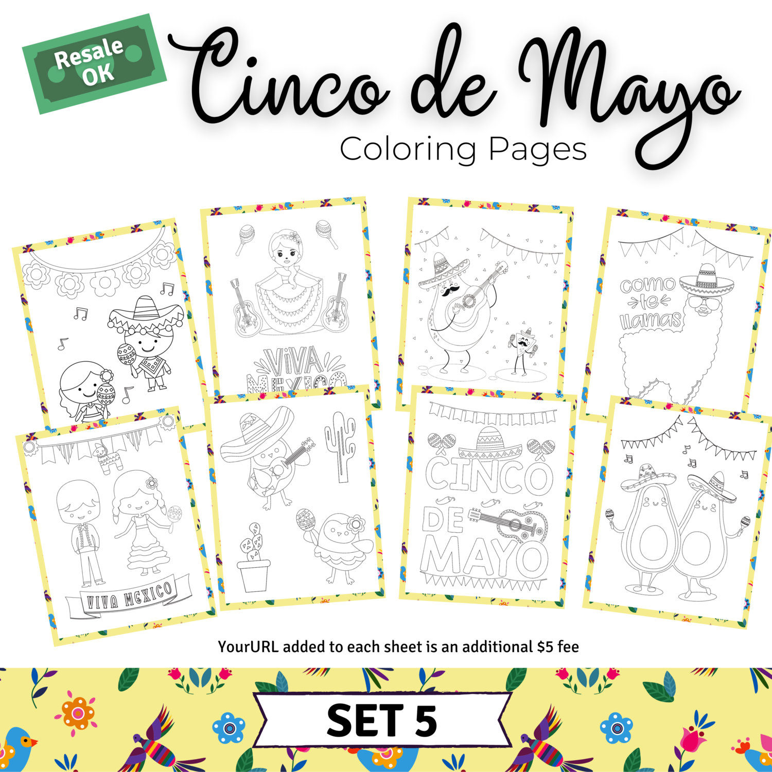 Cinco de Mayo Coloring Pages Set 5 for Tiffany