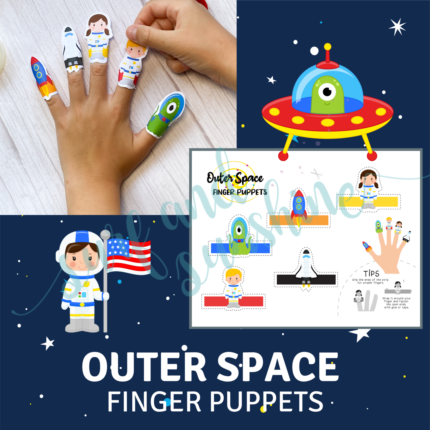 Outer Space Finger Puppets for Corinne