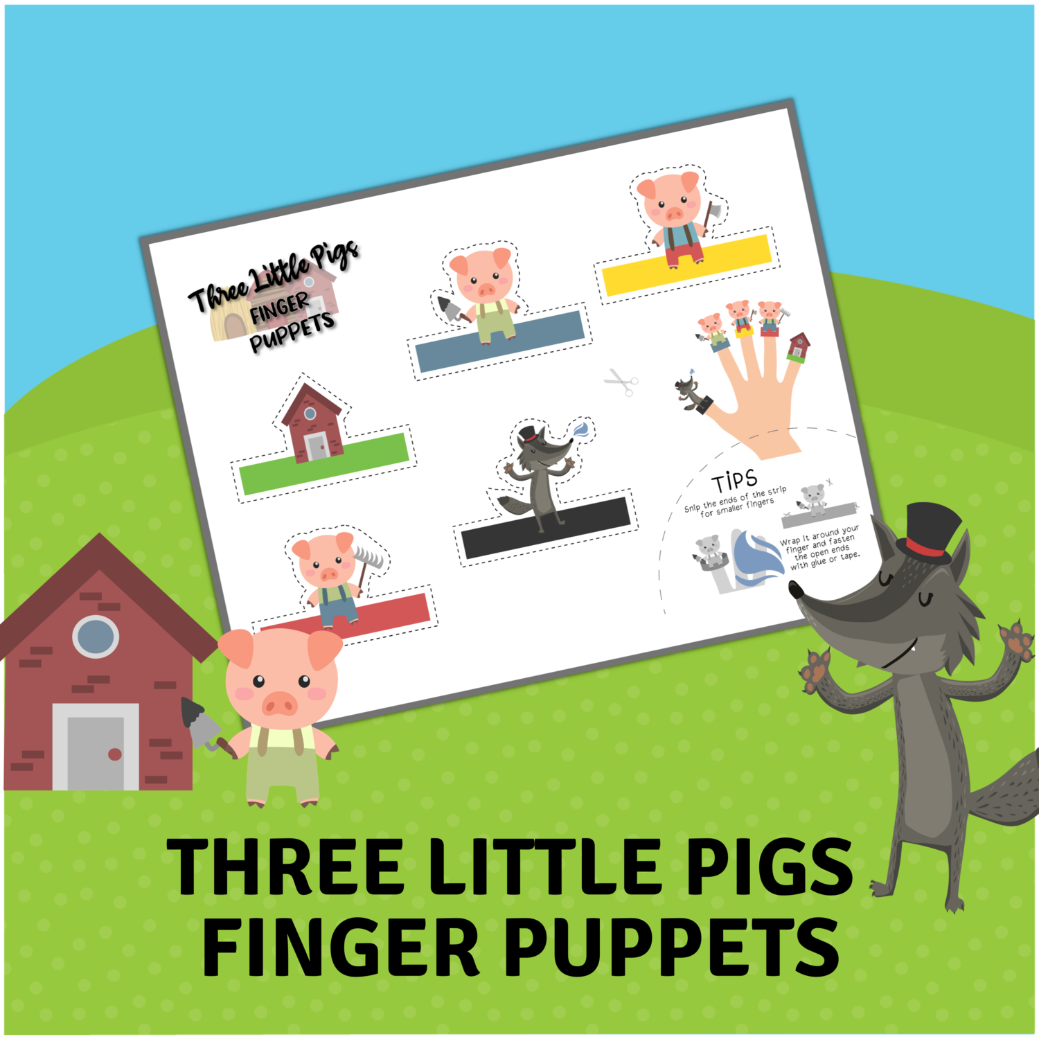 Three Little Pigs Finger Puppets for Amanda