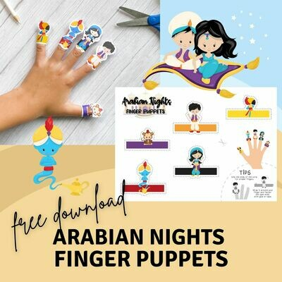 Free Printable Finger Puppets - Arabian Nights  / Aladdin
