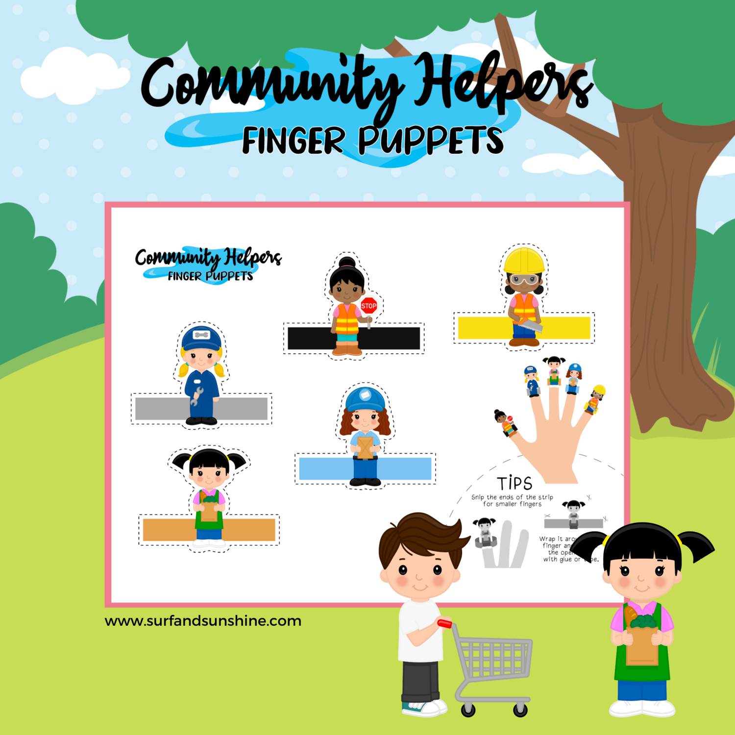 Free Printable Finger Puppets - Community Helpers Girl Power