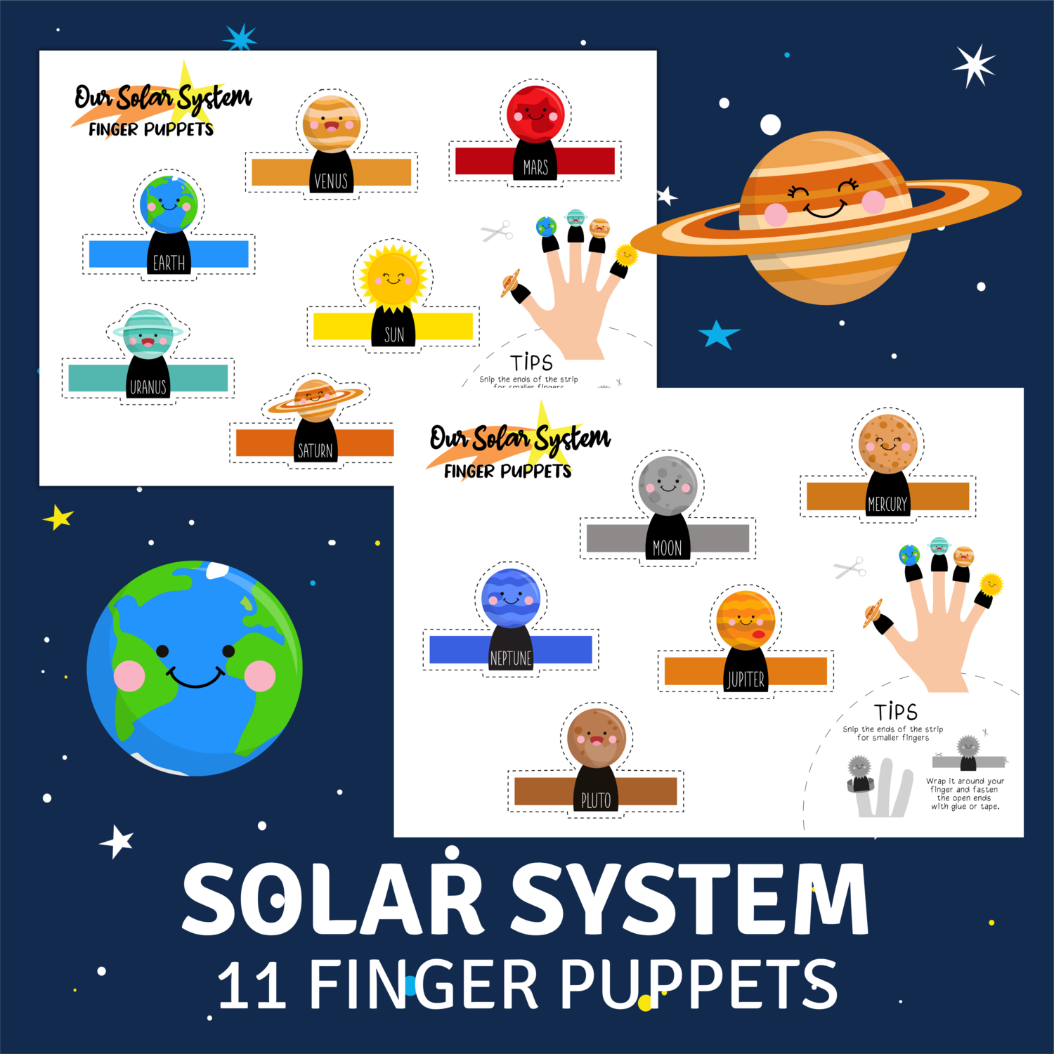 Free Printable Finger Puppets - Our Solar System