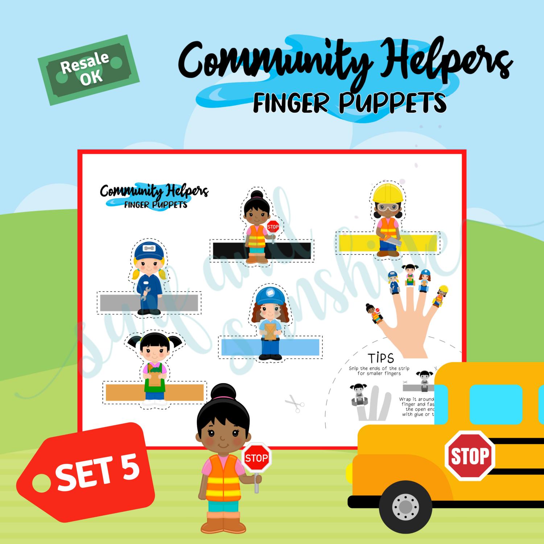 Community Helpers Girl Power Finger Puppets Set for Ehrica