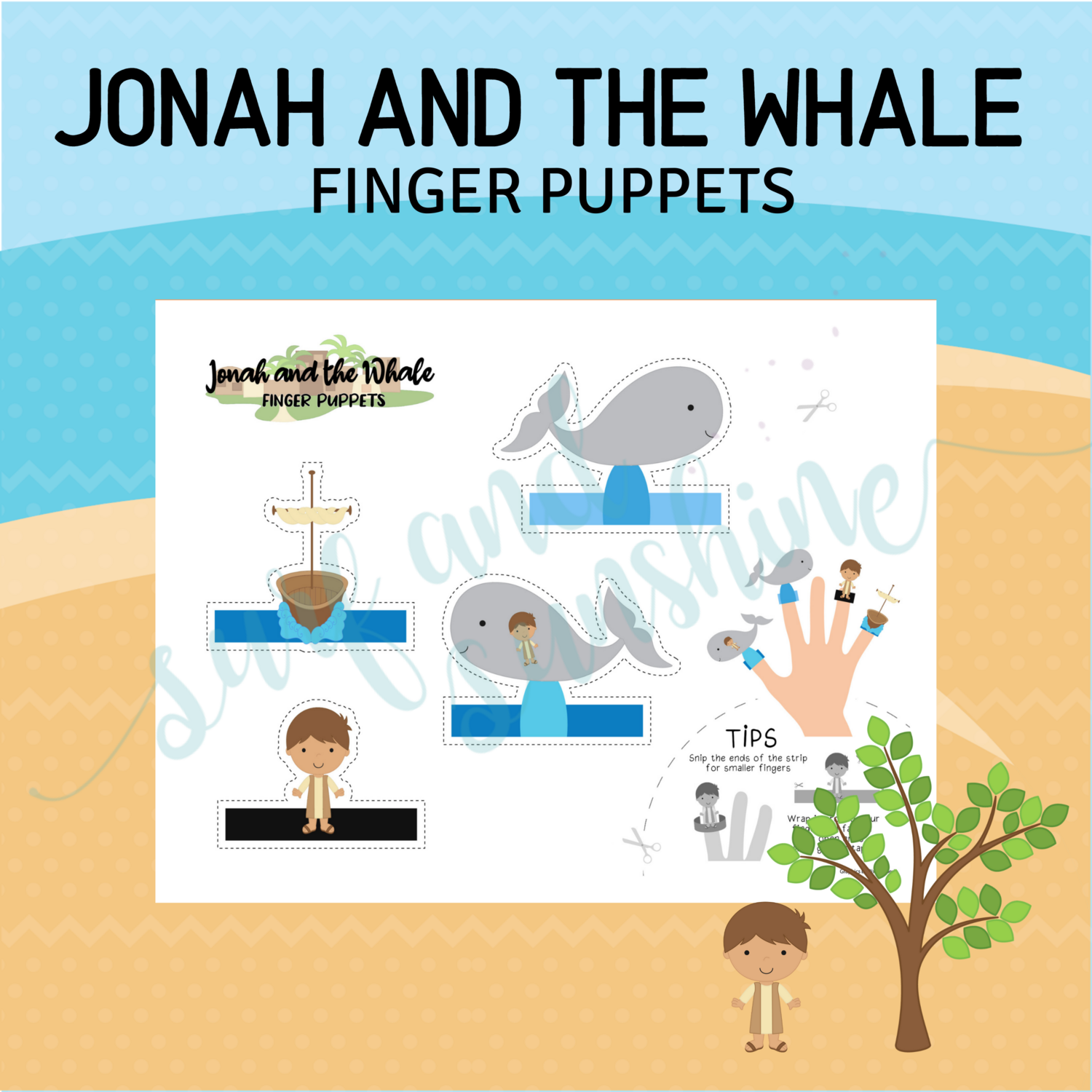Free Printable Finger Puppets - Jonah and the Whale