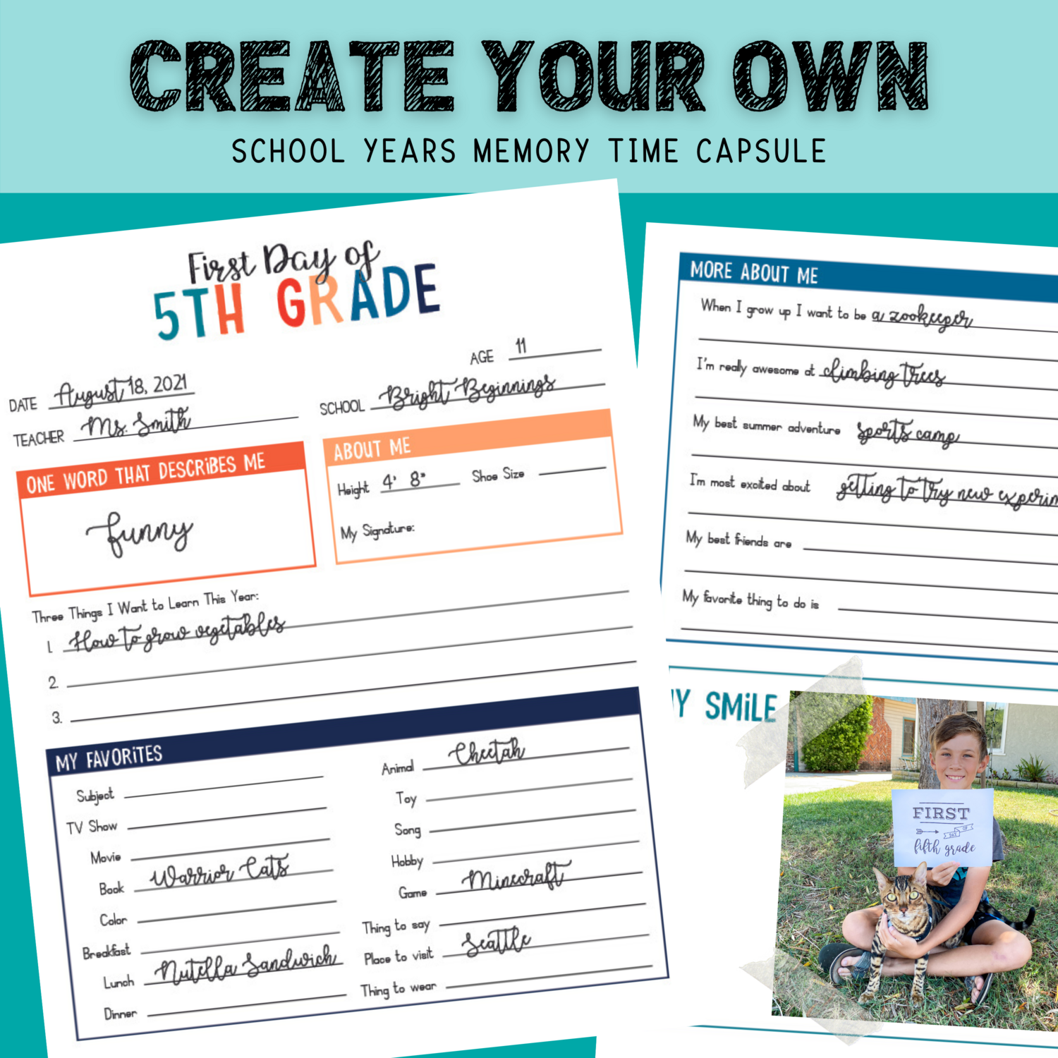 First Day of School / Back to School Interview Questionnaire Time Capsule Bundle