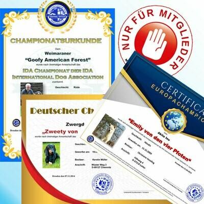 Campionatsurkunden (Preisangabe NUR für Mitglieder)