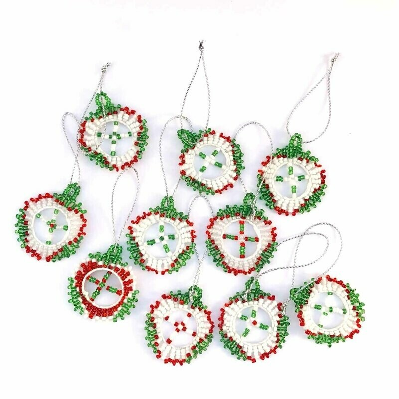 BEADED CHRISTMAS  DECORATIONS (SET OF 10)