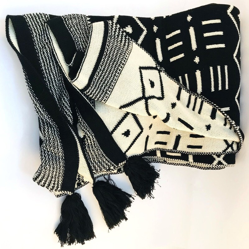 TWO TONE KNITTED SHAWL