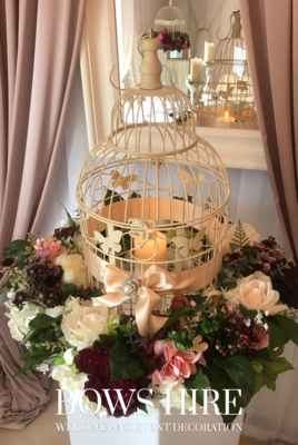 Large Birdcage with Silk Flowers