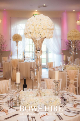 Large Silver Vases with Ivory Roses