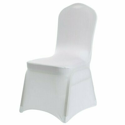 White Lycra Stretch Chair Cover & Organza Sash