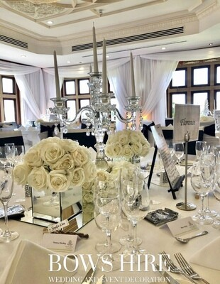 Square Mirrored Boxes with Ivory Rose Ball