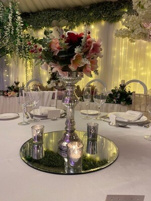 Silver Pillar Candlestick with Flowers