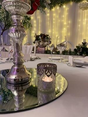 Large Glass Antique Tea-light with Silver Trim