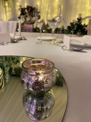 Antique Glass Tea Light Holder with Diamante
