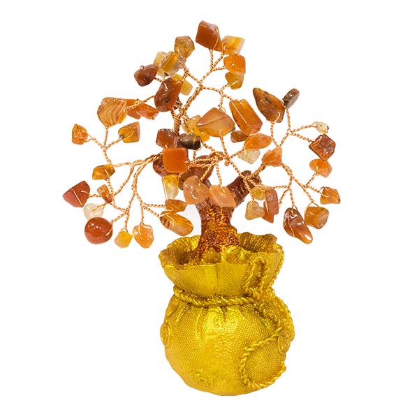 014885 Дерево Сердолик 15 см в мешке,  золото натуральный камень