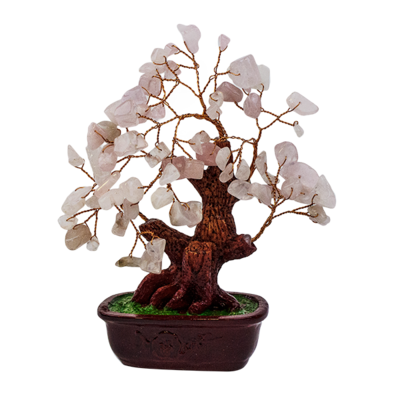 012136 Дерево Кварц розовый 16х18 см,натуральный камень