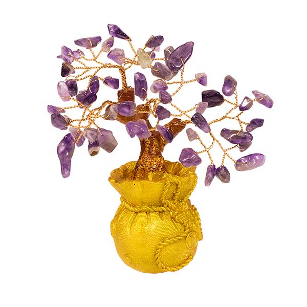014884 Дерево Аметист фиолетовый 15 см в мешке,  золото, натуральный камень