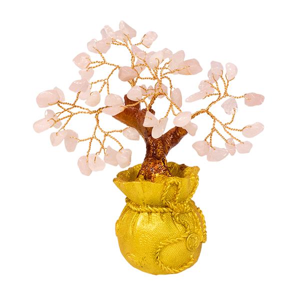 014886 Дерево Кварц розовый 15 см в мешке, золото натуральный камень