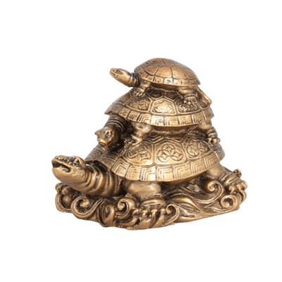 500493 Три черепахи на слитках Пирамида 10х8 см, под бронзу, полистоун