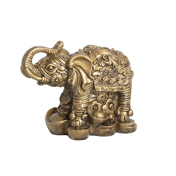 500498 Слон хобот вверх на монетах и слитках 9х6,5 см, под бронзу, полистоун