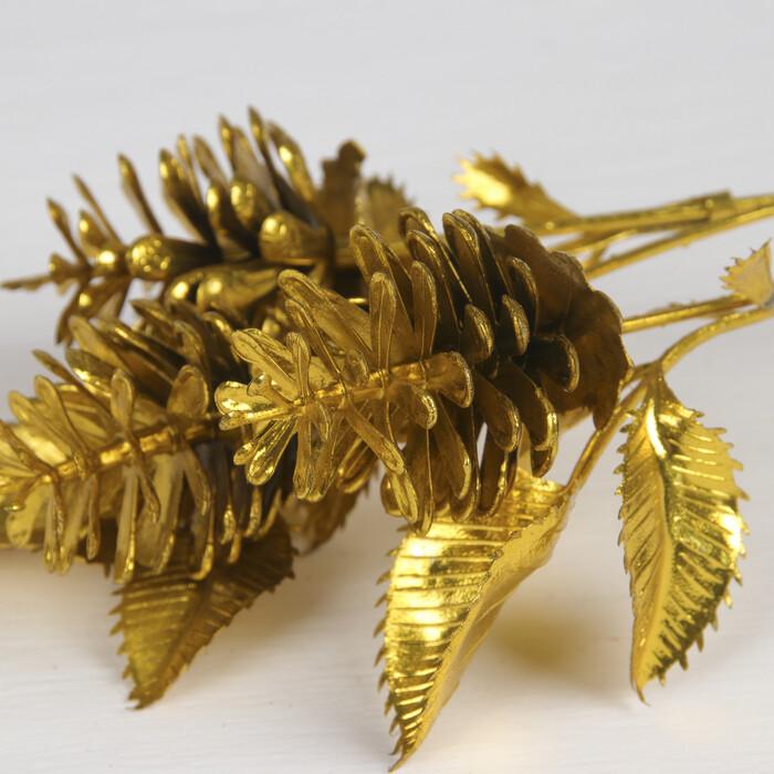 """3543969 Цветы искусственные блеск """"Букет шишек"""" 4*30 см, золото   3543969"""
