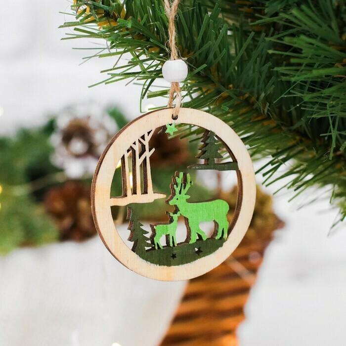 """3608942 Новогодняя подвеска """"Зимний лес"""", цвет зеленый   3608942"""