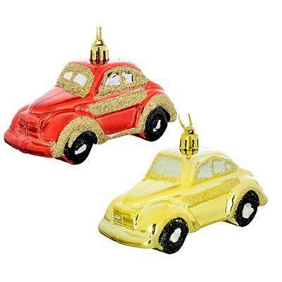 376-676  Подвеска в виде машинки, 10см, пластик, красный, золото