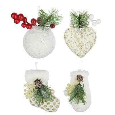 397-226 Подвеска фигурная 9-12 см, пластик, текстиль, декор, 5 дизайнов, белый с белыми ягодами