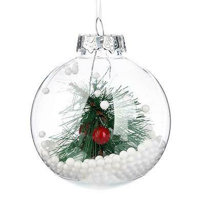 397-233  Подвеска шар прозрачный с принтом 8 см, пластик